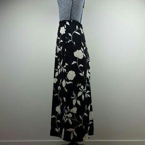 Vintage 90's Black Floral Maxi Skirt